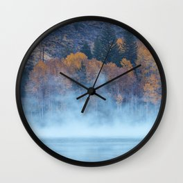 Fog over Silver Lake Wall Clock