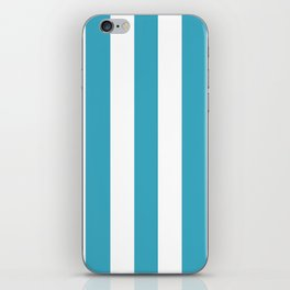 Moonstone turquoise - solid color - white vertical lines pattern iPhone Skin
