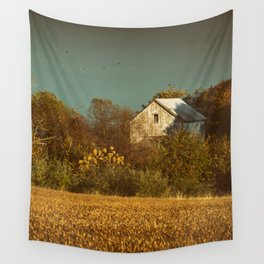 Abandoned Barn Colorized Landscape Photo Wall Tapestry