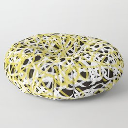 scrambled lines black, white and yellow Floor Pillow