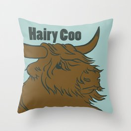 Scottish Hairy Coo (Blue) Throw Pillow