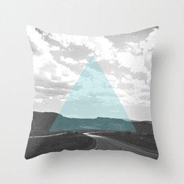 Geo Trip Cyan Throw Pillow