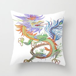 Bright and Vivid Chinese Fire Dragon Vector Throw Pillow