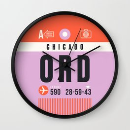 Luggage Tag A - ORD Chicago USA Wall Clock