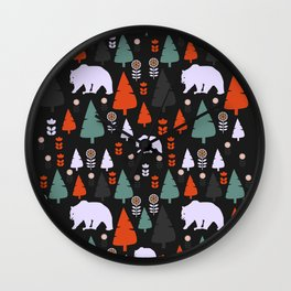 Bear forest at night Wall Clock