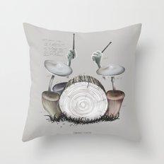Mushroom drums Throw Pillow