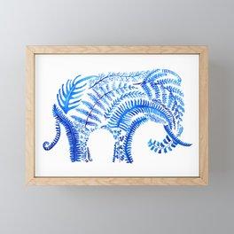 blue elephant watercolor Framed Mini Art Print