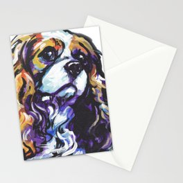 Blenheim Cavalier King Charles Spaniel Dog Portrait Pop Art painting by Lea Stationery Cards