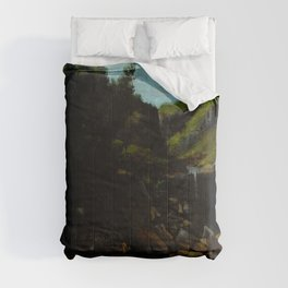 """Gustave Courbet """"Cascade in a Rocky Landscape"""" Comforters"""