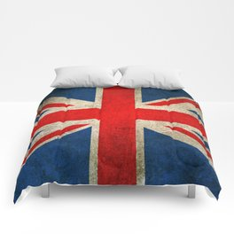 Old and Worn Distressed Vintage Union Jack Flag Comforters