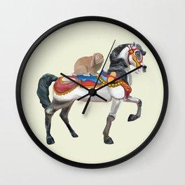 Bunny Riding a Carousel Horse Wall Clock