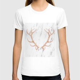 Rose gold antlers on soft white marble T-shirt