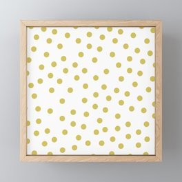 Simply Dots in Mod Yellow on White Framed Mini Art Print