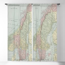 Vintage Map of Norway and Sweden (1901) Blackout Curtain