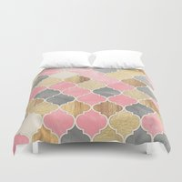 bedding Duvet Covers featuring Silver Grey, Soft Pink, Wood & Gold Moroccan Pattern by micklyn