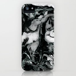 Black and white Marble texture acrylic paint art iPhone Case