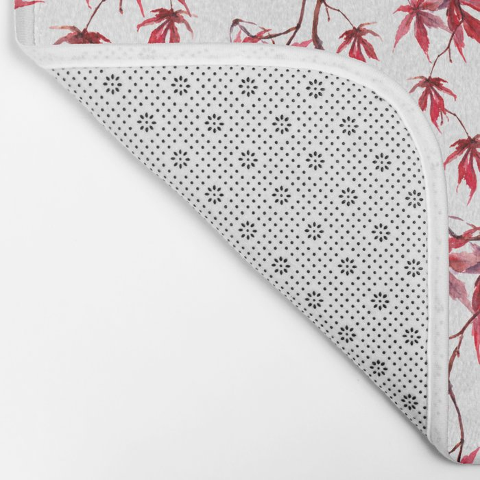 Watercolor Botanical Red Japanese Maple Leaves on Solid White Background Bath Mat