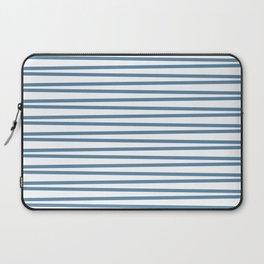 Grayish blue and white thin horizontal stripes Laptop Sleeve