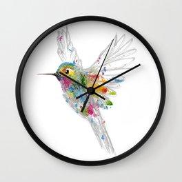 Hummingbird Watercolor Graffiti Wall Clock