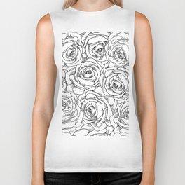 White & Black Roses Biker Tank