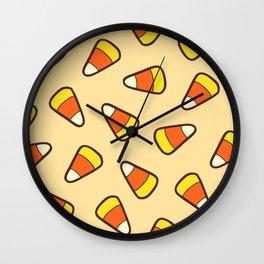 Candy Corn Pattern Wall Clock