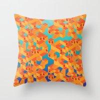 escher Throw Pillows featuring Escher cube by Tony Vazquez