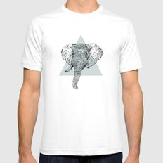 Elephant Head II White Mens Fitted Tee SMALL