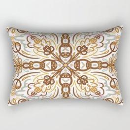 Boho Floral Mandala, Rust and Gold Palette Rectangular Pillow