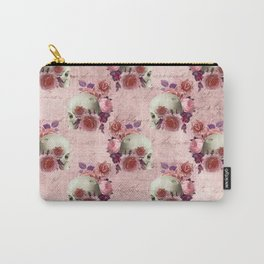 Pastel Goth pink floral skulls Carry-All Pouch