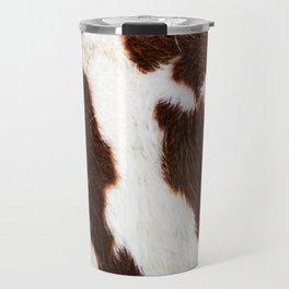 Cowhide Brown Spots Travel Mug
