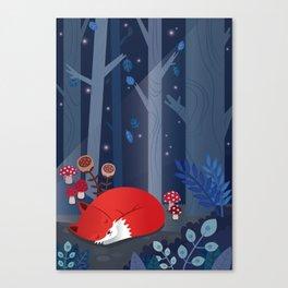 Little fox sleeps in the woods Canvas Print