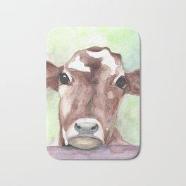 Cow portrait, farmhouse, country home, farm animal Bath Mat