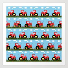 Toy tractor pattern Art Print