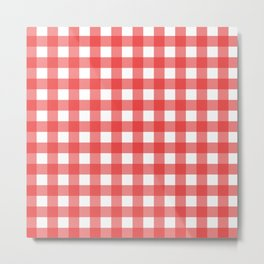 Red white gingham Metal Print