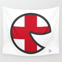england Wall Tapestries featuring England Smile by onejyoo