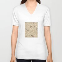 vintage flowers V-neck T-shirts featuring vintage flowers by Julia Tomova
