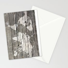 world map wood 1 Stationery Cards