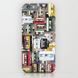 Retro cassette tape pattern iPhone Case
