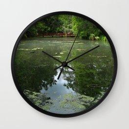 Magnolia Red Garden Bridge Wall Clock