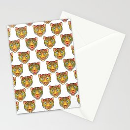 tattoo style leopard head Stationery Cards