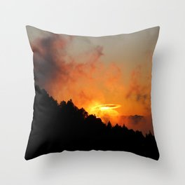 Stormy Dramatic Sunset Mountain Landscape Throw Pillow