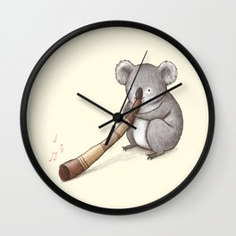 Koala Playing the Didgeridoo Wall Clock