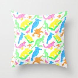 Beautiful Bright Australian Native Animals Throw Pillow
