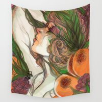 wine Wall Tapestries featuring Wine God by Moody Pink