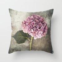 hydrangea Throw Pillows featuring Hydrangea  by Maria Heyens
