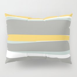 Stripe Abstract, Sun and Beach, Yellow, Pale, Aqua Blue and Gray Pillow Sham