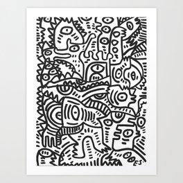 Black and White Street Art Graffiti King's Party Art Print