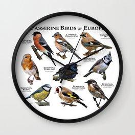 Passerine Birds of Europe Wall Clock