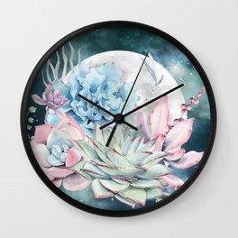 Beautiful Succulents Full Moon Teal Pink Wall Clock
