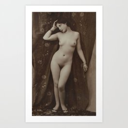 Victorian Vintage Posing Lady Erotic French Nude Postcard Art Print